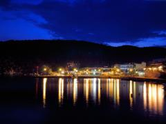Sithonia, Greece, Pyrgadikia village at night